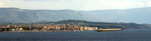 Alghero harbour and town